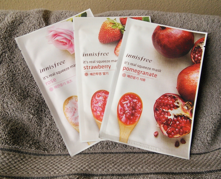 Innisfree It's Real Squeeze Masks in Rose, Strawberry, and Pomegranate