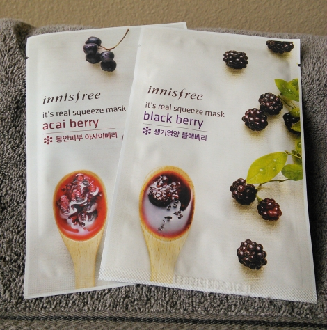 Innisfree sheet masks in Acai Berry and Black Berry
