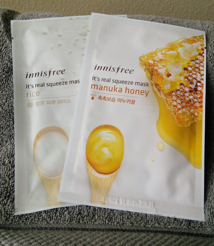 Innisfree sheet masks in Rice and Manuka Honey