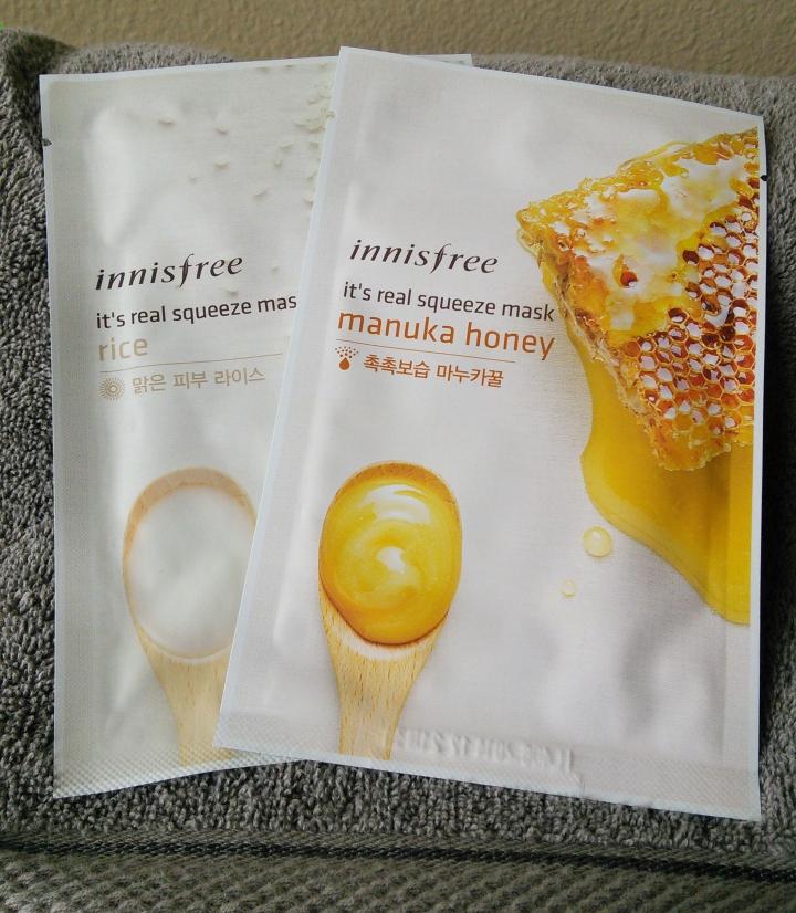 Innisfree sheet masks in Rice and Manuka Honey