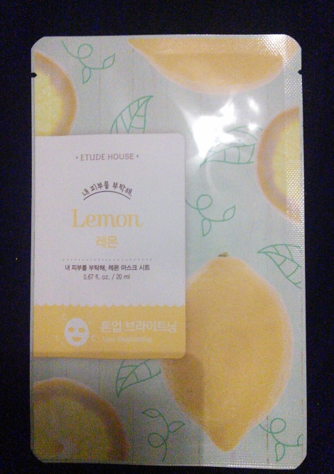 Etude House I Need You brightening sheet mask in Lemon
