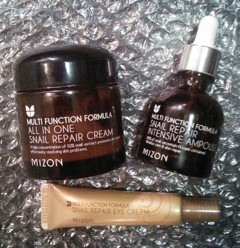 Mizon All-in-One Snail Repair Cream, Mizon Snail Repair Intensive Ampoule, Mizon Snail Repair Eye Cream