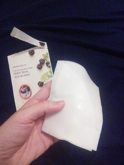 Innisfree It's Real Squeeze Mask in Black Berry, out of the packet