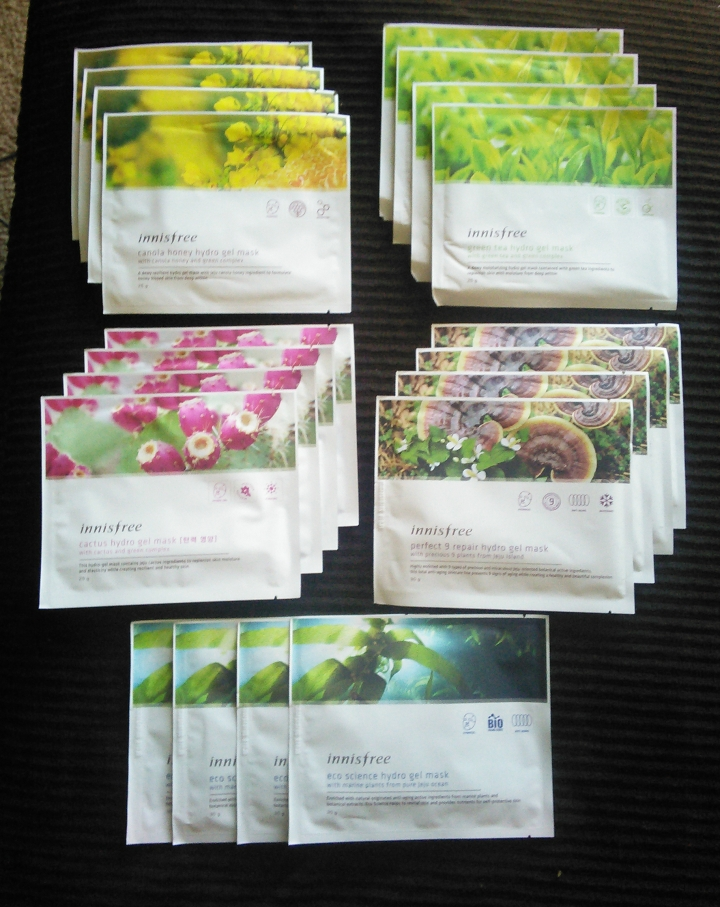 20 Innisfree hydrogel masks