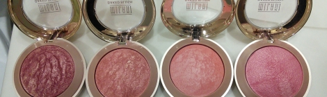 Milani baked blushes in Red Vino, Rose D'Oro, Luminoso, and Dolce Pink