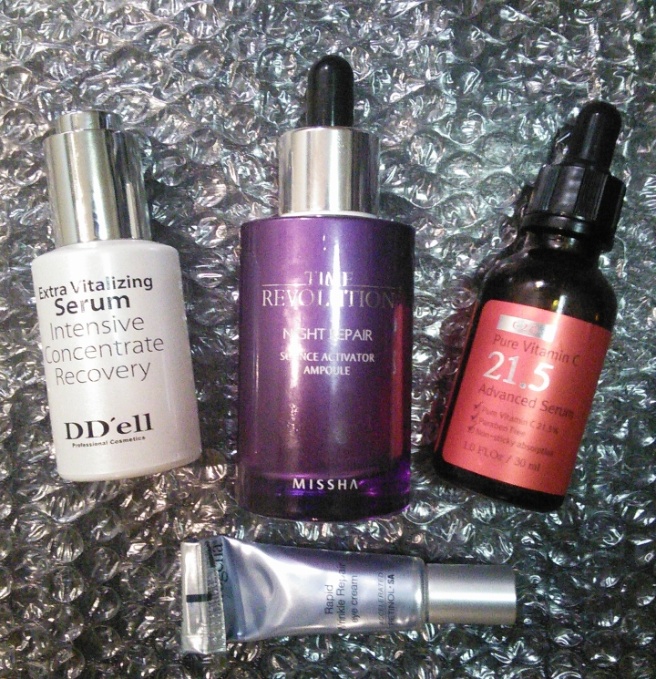 OST C21.5 serum, DD'ell Extra Vitalizing Serum, Missha Time Revolution Night Repair Science Activator Ampoule, Neutrogena Rapid Wrinkle Repair Eye Cream