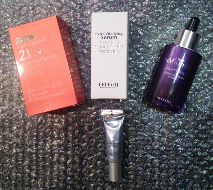 "OST C21.5, DD'ell Extra Vitalizing Serum, Missha Time Revolution Night Repair Science Activator ""Long Name"" Ampoule, Neutrogena Rapid Wrinkle Repair Eye Cream"