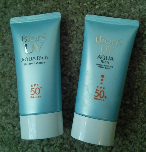 Bottle comparisons of Biore UV Aqua Rich Watery Essence 2015 vs older version