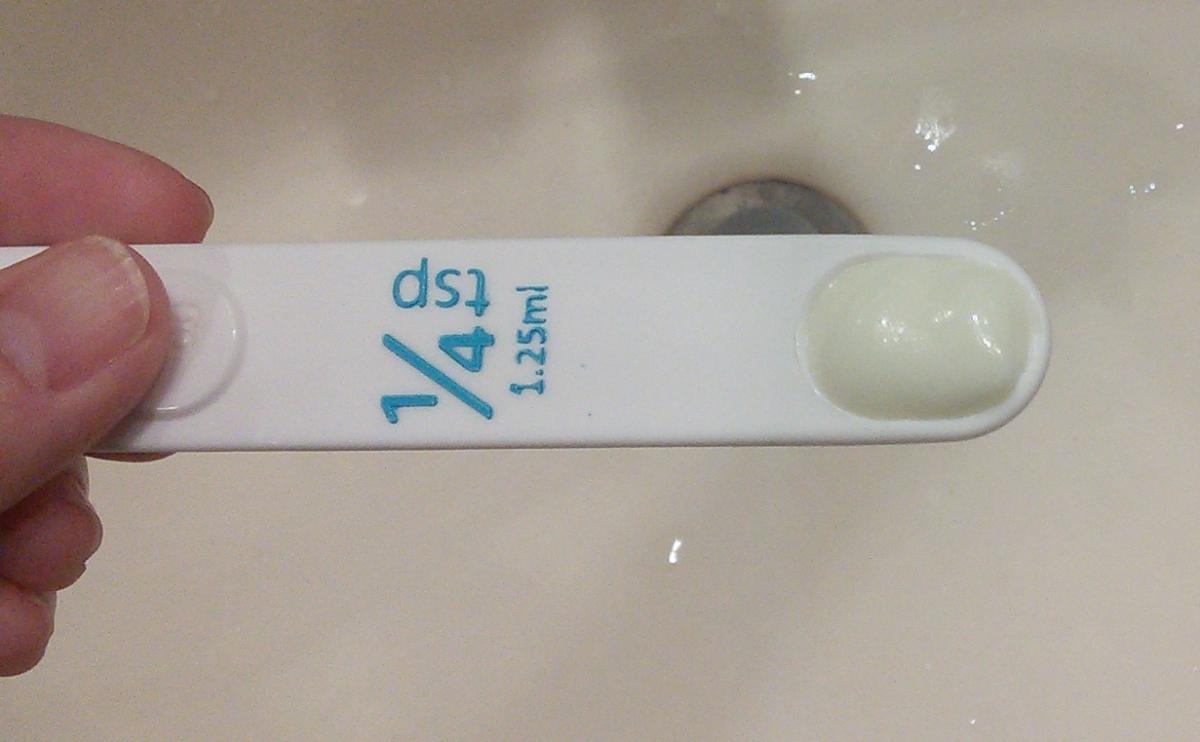 1/4 teaspoon of Biore UV Aqua Rich Watery Essence 2015 version