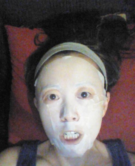 Wearing The Face Shop kelp sheet mask