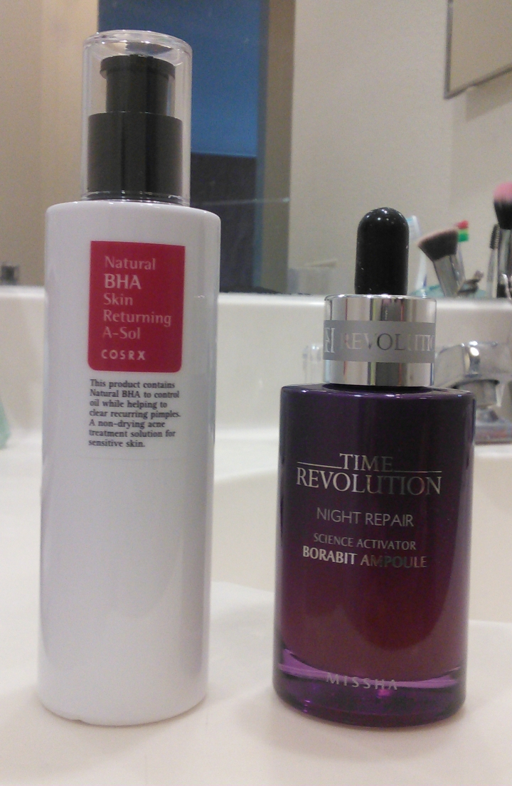 CosRX Natural BHA Returning A-Sol and Missha Time Revolution Night Repair Science Activator Borabit Ampoule