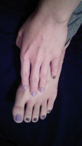 Lavender and steel gray manicure and pedicure.