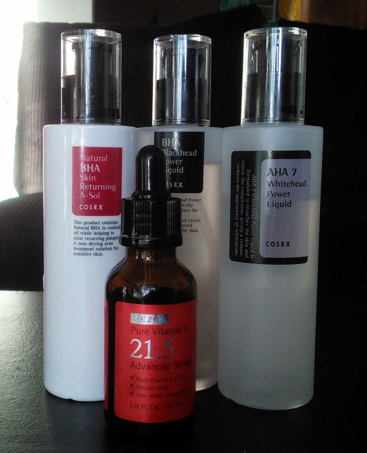COSRX AHA and BHA products and C21.5 vitamin C serum