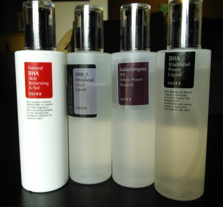 COSRX Returning A-Sol, White Power Essence, AHA 7 Whitehead Power Liquid, and BHA Blackhead Power Liquid