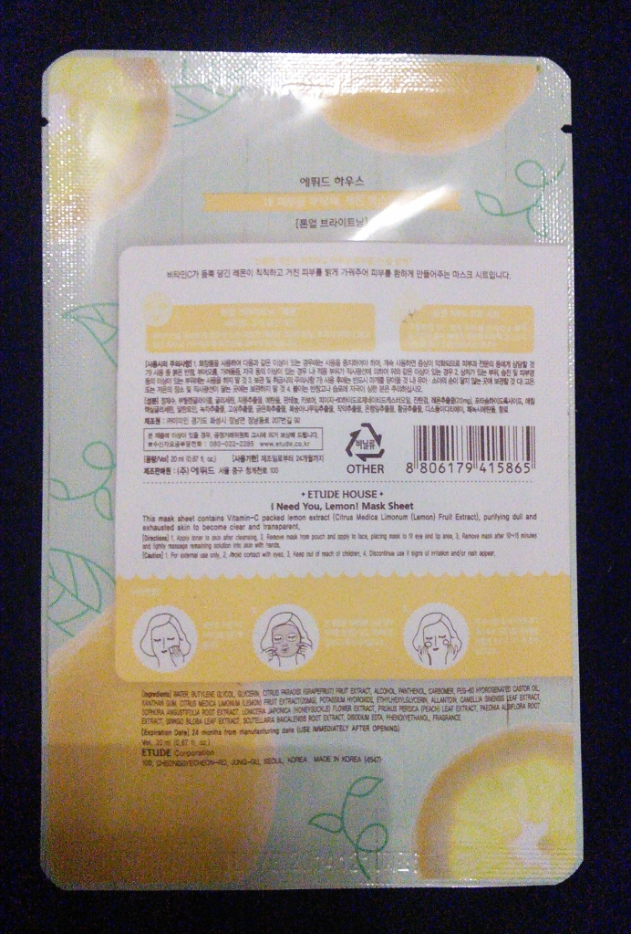 Back of Etude House I Need You sheet mask in Lemon, back of package