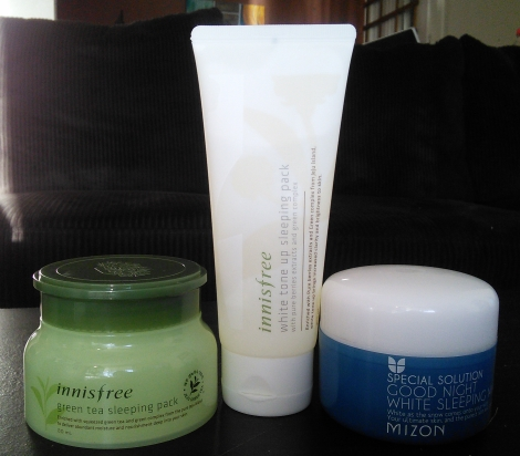 Innisfree Green Tea Sleeping Pack and White Tone Up Sleeping Pack, Mizon Good Night White Sleeping Mask