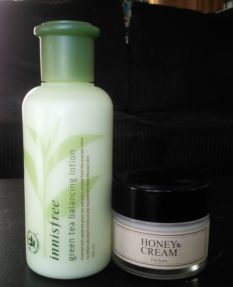 Innisfree Green Tea Balancing Lotion for day, I'm From Honey Cream for night