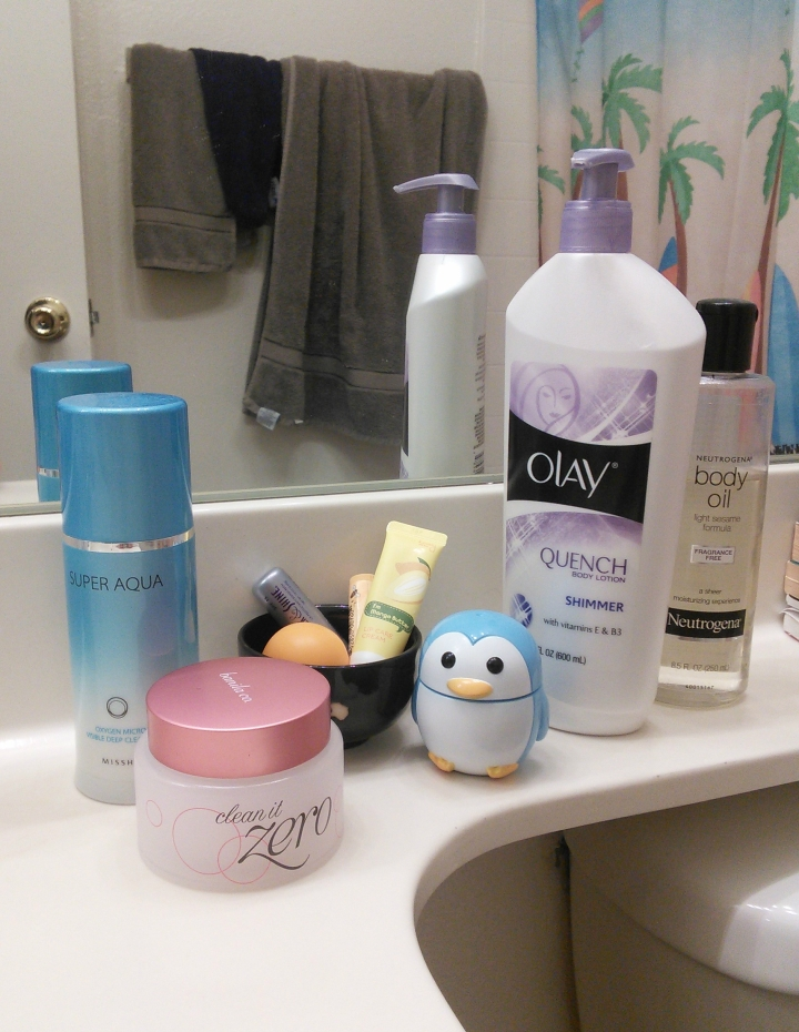 Cleansing balm, foaming cleanser, hand cream, and lip balms