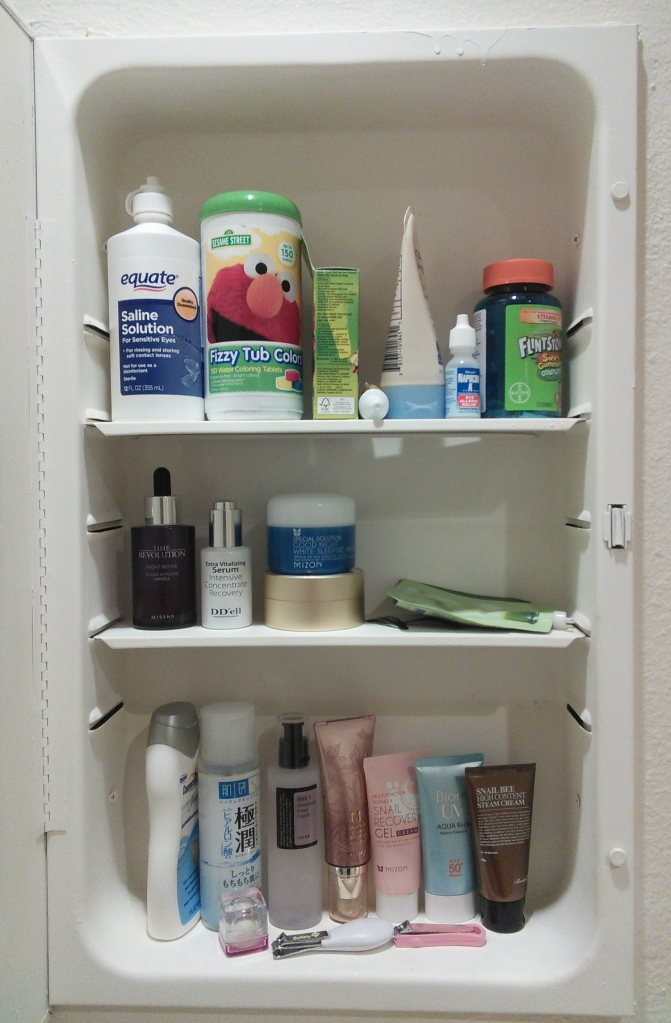 Second bathroom cabinet beauty products