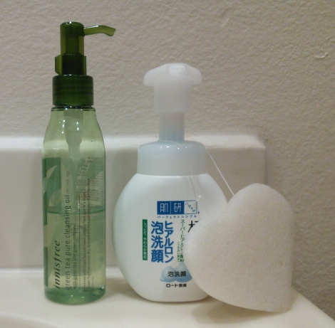 Double cleansing with Innisfree cleansing oil and Hada Labo cleansing foam