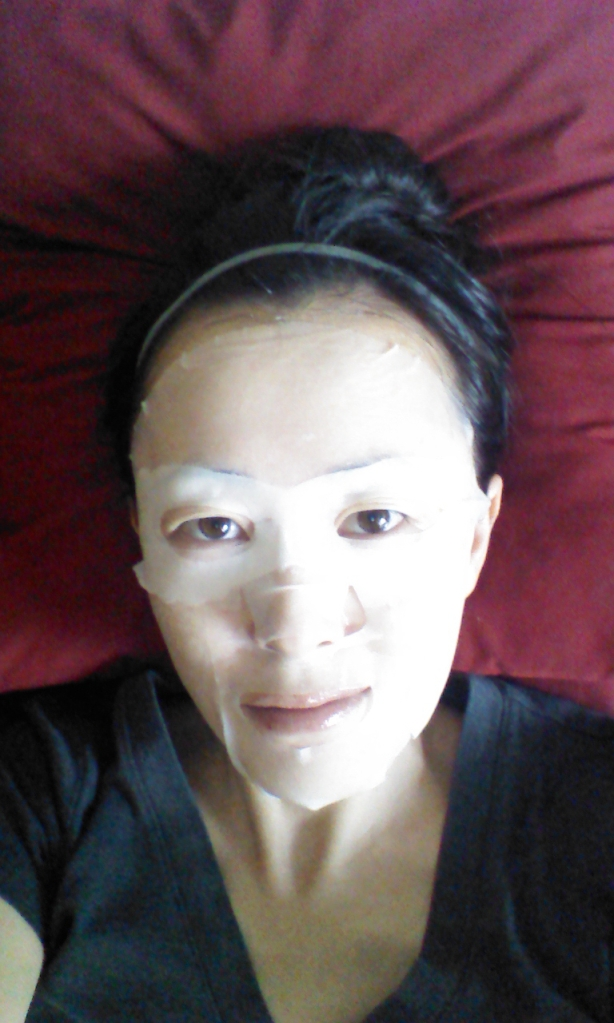 Wearing Innisfree Rose sheet mask over My Beauty Diary Puffiness Intensive eye mask