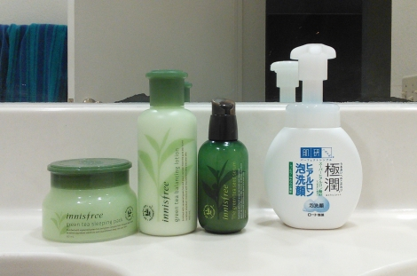 Innisfree Green Tea Seed Serum, Green Tea Balancing Lotion, Green Tea Sleeping Pack, and Hada Labo foaming cleanser