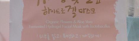 Front of Whamisa Organic Flowers & Aloe Vera hydrogel mask