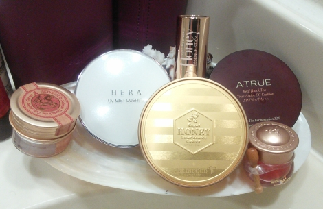Cushion makeup from Hera, Skinfood, and A.True