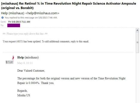 Official Missha answer regarding retinol percentage in Night Repair ampoule