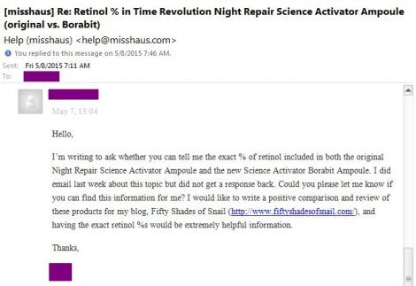 Email to Missha regarding retinol percentage in Science Activator Borabit Ampoule