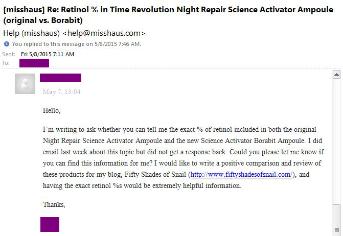 Email to Missha regarding retinol percentage in Science Activator Borabit Ampoule