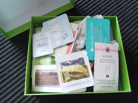 Box of Korean skincare samples