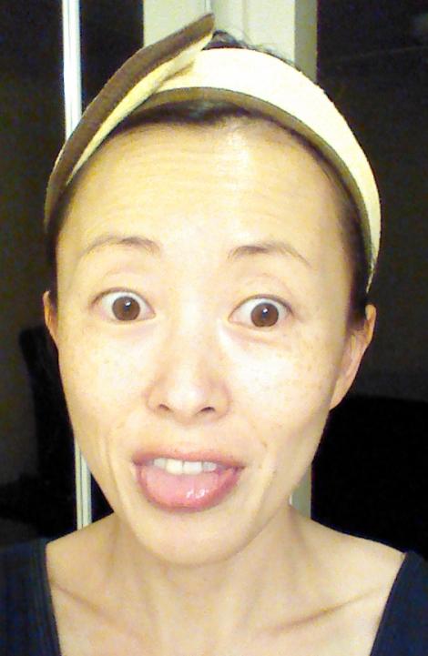 Lindsay Lavender Modeling Mask after pic