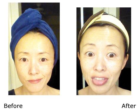 Lindsay Lavender Modeling Mask before and after