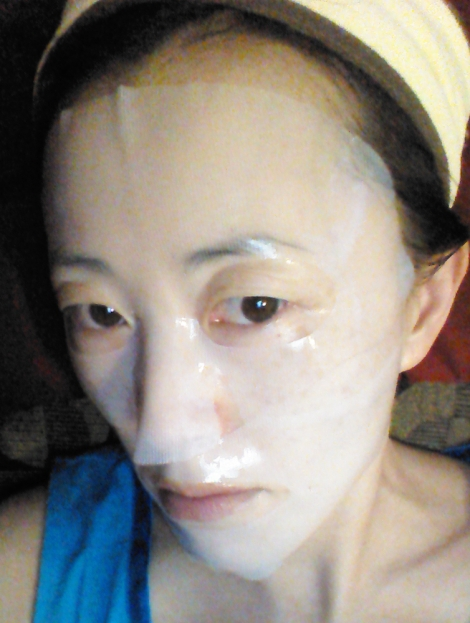 Wearing Skinfood Deep Sea Water Brightening Gel Mask