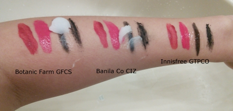 Comparison of Botanic Farm, Banila Co and Innisfree oil cleansers
