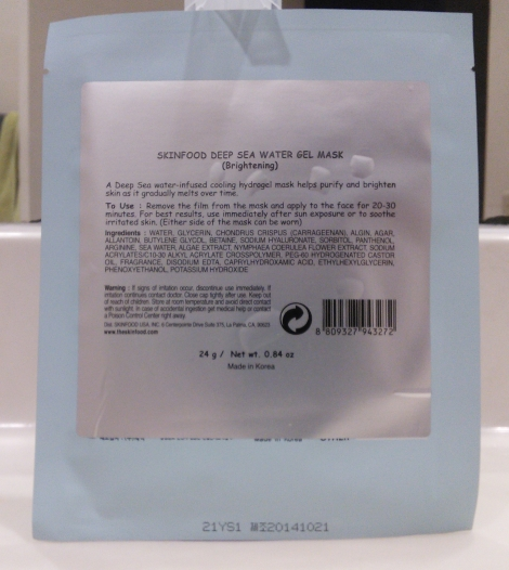 Skinfood Deep Sea Water Gel Mask back