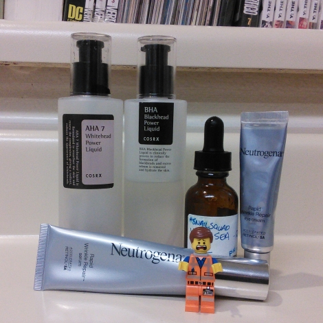 COSRX chemical exfoliants and Neutrogena retinol products