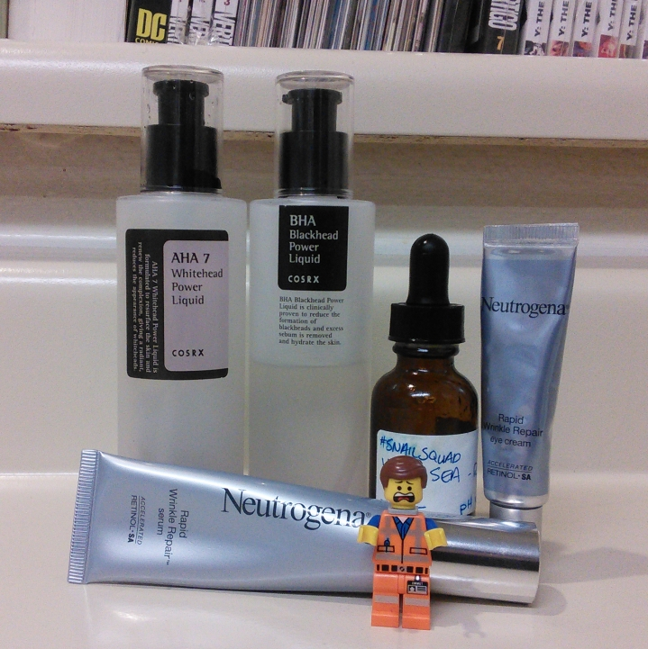 COSRX chemical exfoliants and Neutrogena retinol products