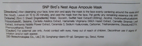 SNP Bird's Nest Aqua Ampoule Mask English directions and ingredients