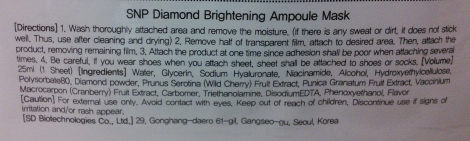 SNP Diamond Brightening Ampoule Mask English directions and ingredients