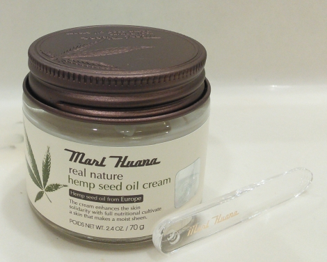 Jar and spatula of Mari Huana Cream