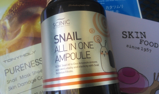 Scinic Snail All In One Ampoule and Tony Moly and Skinfood snail sheet masks