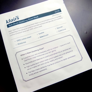 Klairs Rich Moist Soothing Mask mini review