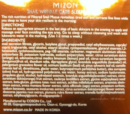 Mizon Snail Wrinkle Care Sleeping Pack English ingredients