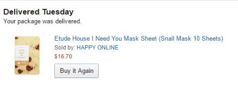 Etude House snail sheet masks from Amazon