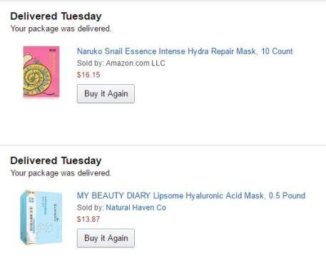Sheet mask haul from Amazon