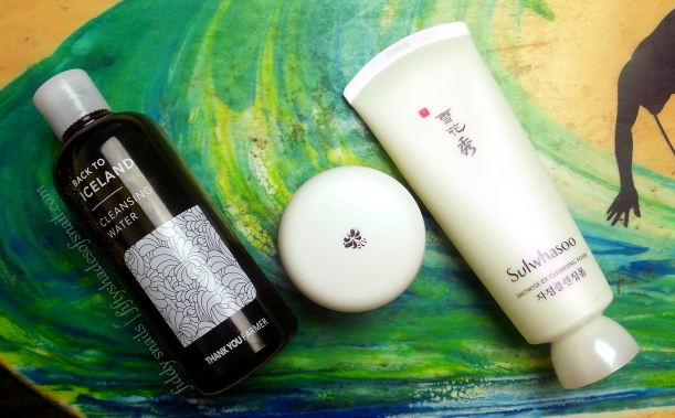 Thankyou Farmer cleansing water, Darphin cleansing balm, and Sulwhasoo foaming cleanser