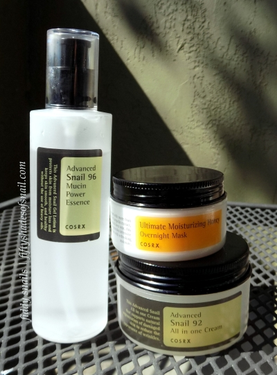 COSRX snail essence and cream and honey sleeping pack