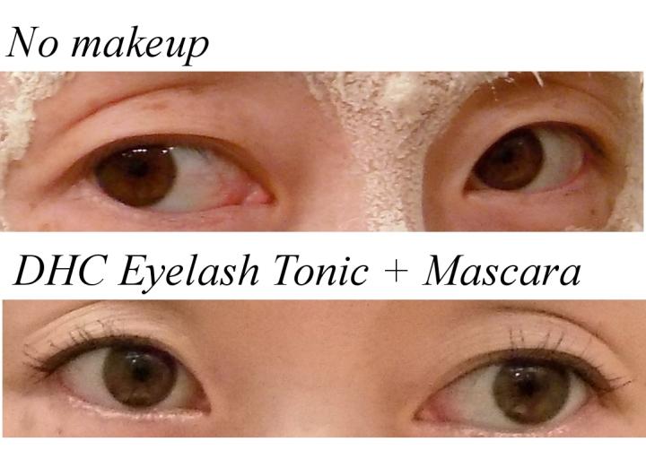 Eyelash serum and mascara before and after